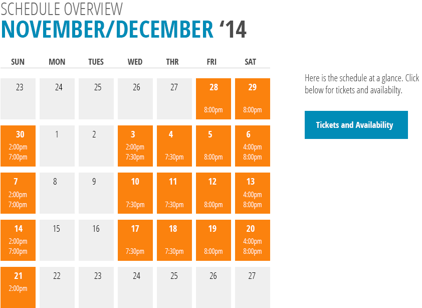 13 Things Performance Calendar