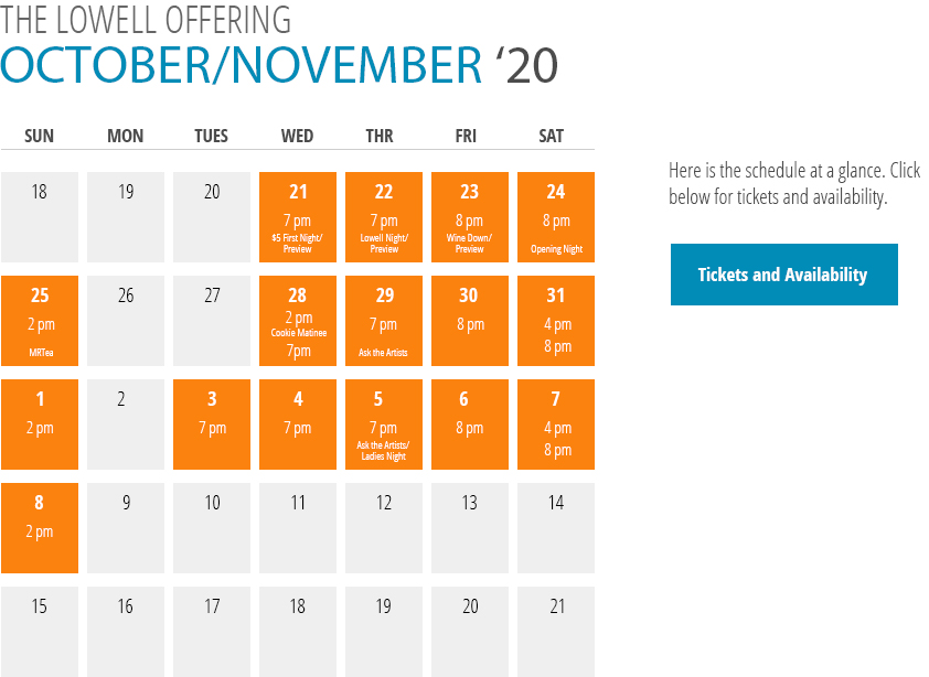 The Lowell Offering Calendar