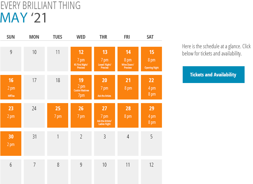 Every Brilliant Thing Calendar