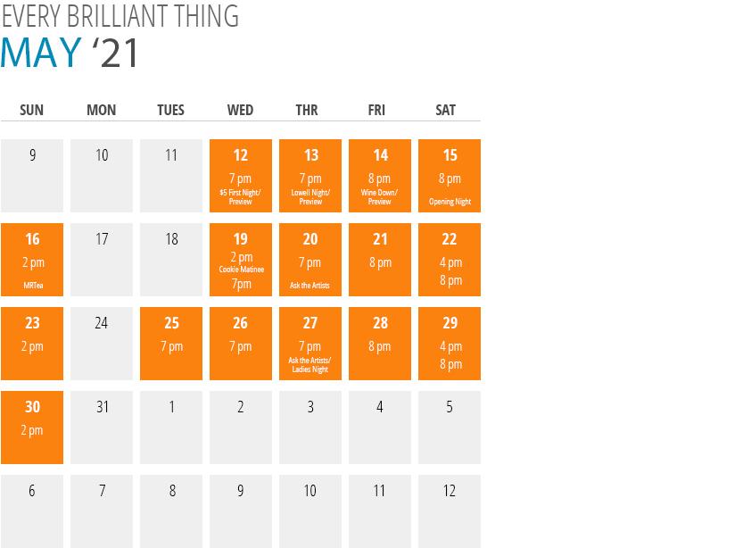 Every Brilliant Thing Calendar